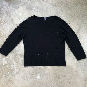 EILEEN FISHER Fine Wool Sparkly Pullover L